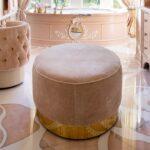 Oval Ottoman - Pink Velvet and Brass Ella Ottomans by Lori Morris Interior Design. Worldwide shipping